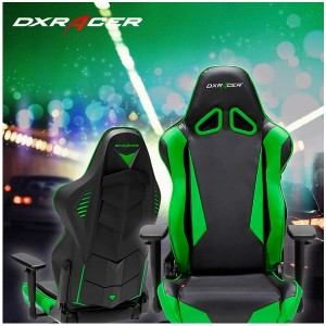 DX Racer Racing Series Gaming Chair - Black Green ( Green LED ) (3)