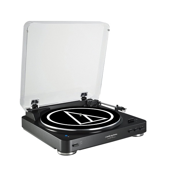 Audio Technica AT-LP60BK-BT Fully Automatic Bluetooth Wireless Belt-Drive Stereo Turntable – Black